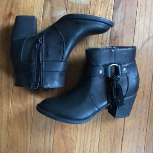 AE Black Tassel Moto Booties